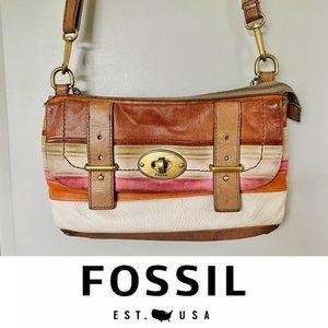 RARE Fossil Crossbody Leather Suede Purse Striped
